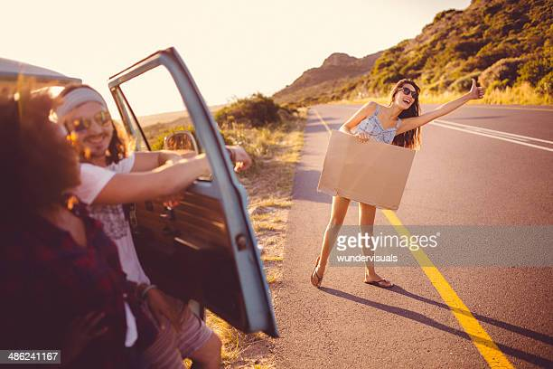 Girl is hitchhiking
