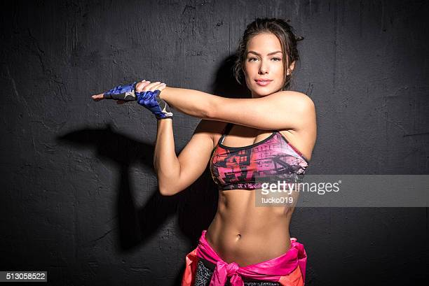 Girl is preparing for training