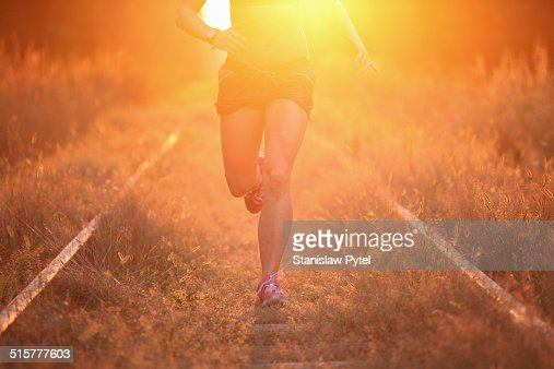 Girl jogging in forest