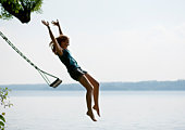 Girl jumping from swing
