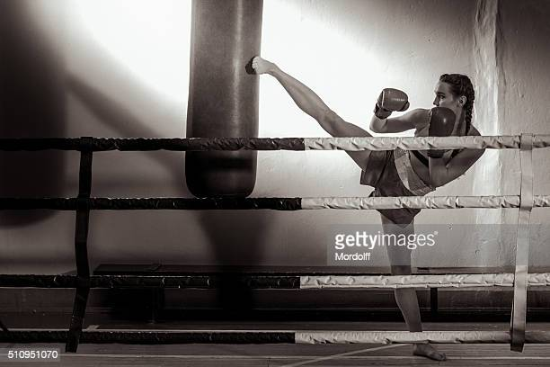 Girl Kickboxer In Training