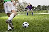 Girl kicking soccer ball toward goal