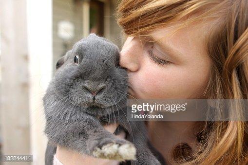 Girl Kissing Rabbit
