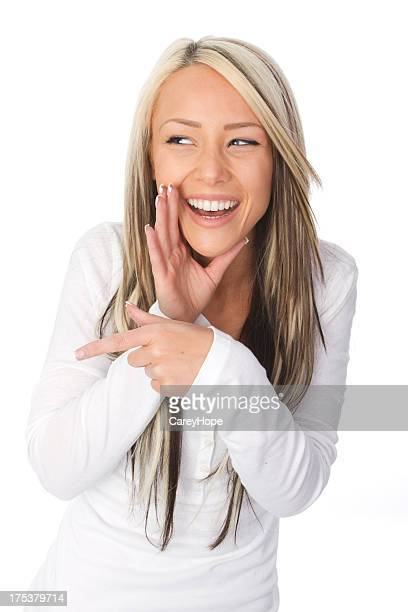 girl laughing and pointing