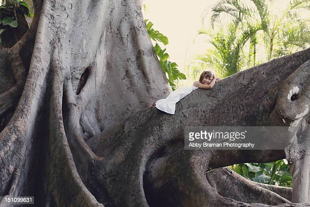 Girl laying on huge banyan tree