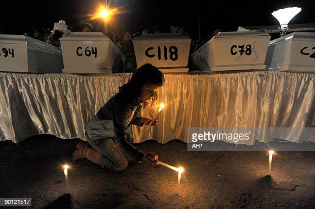 A girl lights a candle August 27 2009 in Huamanga Peru during a vigil for the victims of a massacre occured in 1984 in Putis Ayacucho The IRC...