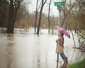 Girl looking at flood