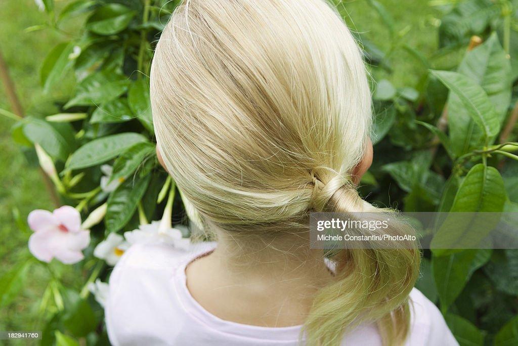 Girl looking at mandevilla, rear view