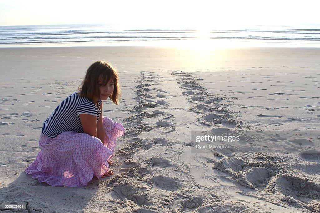 Girl Looking at Sea Turtle Tracks : Stock Photo