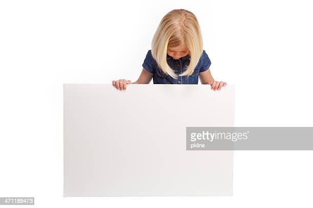 Girl looking at Sign