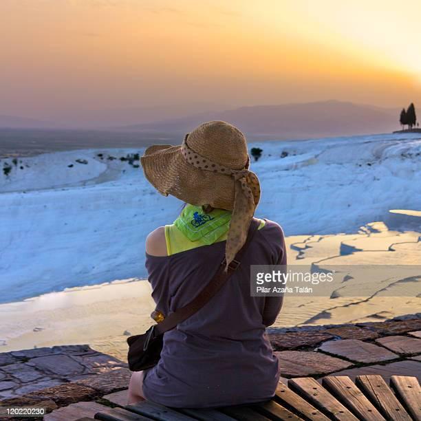 Girl looking pamukkale landscape
