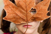 girl looking through autumn leaf
