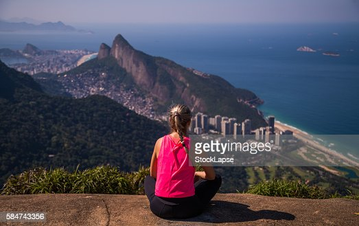 Girl looking to Rio de Janeiro from above