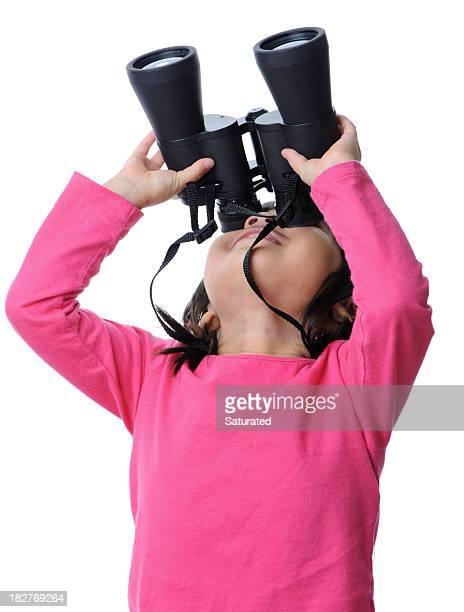 Girl Looking Up Through Binoculars