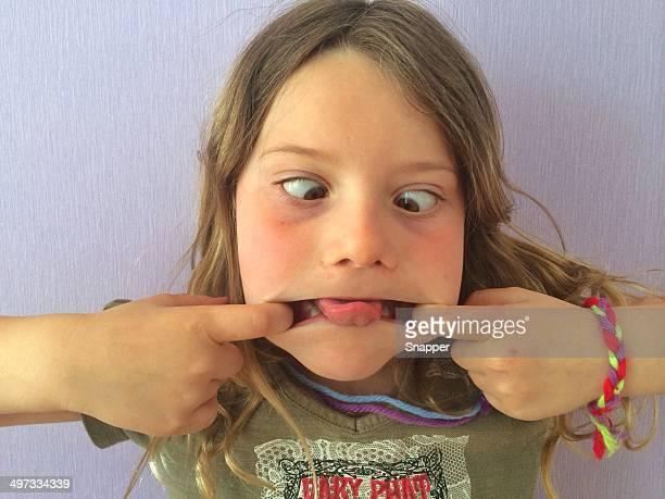 Girl (6-7) making face