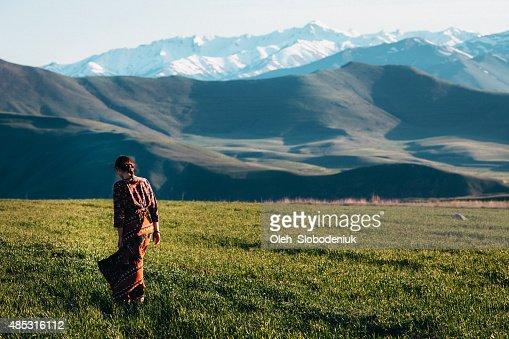 Girl near the mountains
