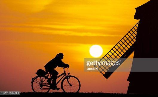 Girl 自転車のオランダの雰囲気