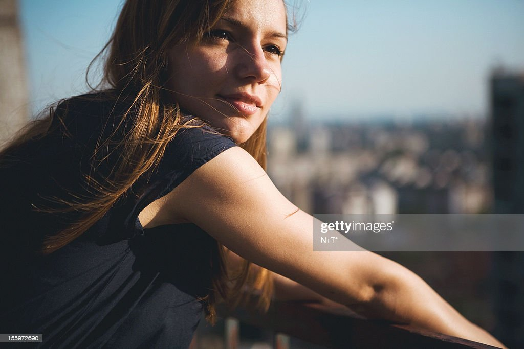 girl on a roof top : Stock Photo
