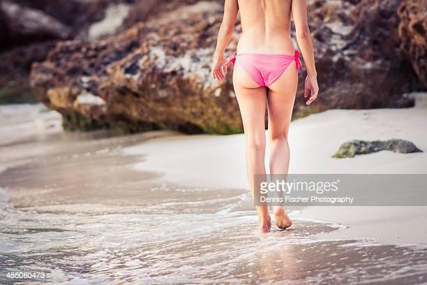 girl on beach walking