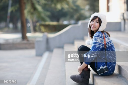 Girl on campus : Stock Photo