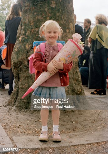 A girl on her first day of school