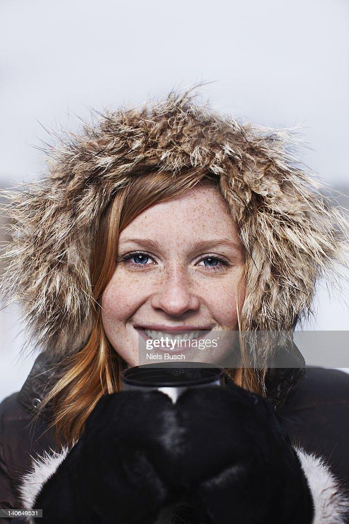 Girl on iced lake : Stock Photo