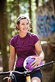 Girl on mountain bike