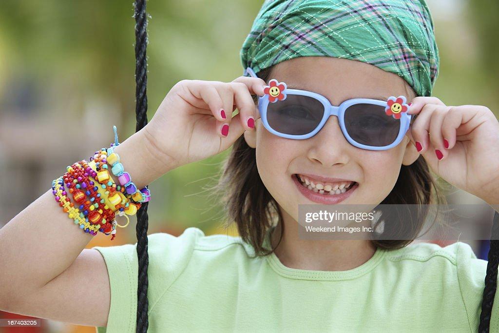 Girl on playground : Stockfoto