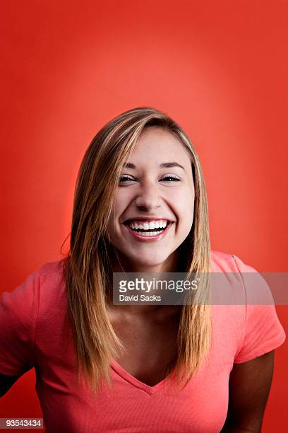 Girl on red background