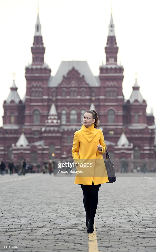 Girl on Red Square, Moscow, Russia : Stock Photo