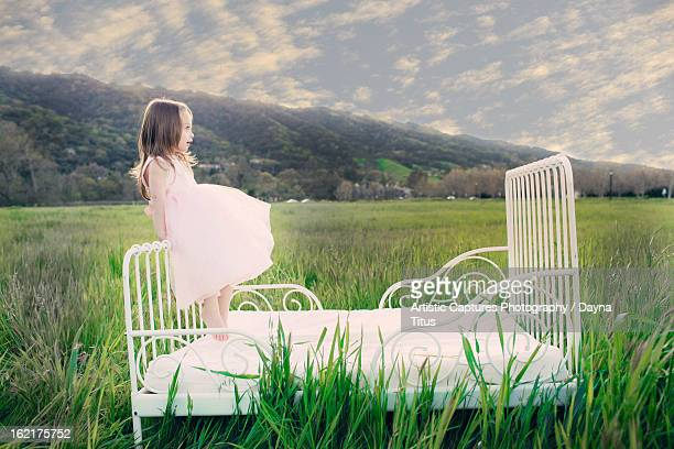 Girl on the Bed in the Field