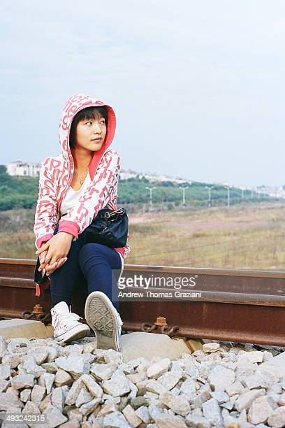 Girl on the railroad track