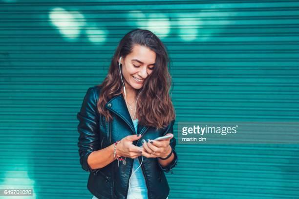 Girl online dating on mobilephone