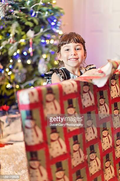 Girl Opening Large Xmas Present