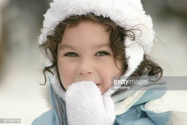 Girl Outdoors in Winter Clothing