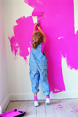 Girl Painting Wall Pink