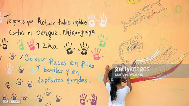 TOPSHOT A girl paints a mural that educates people about a mosquito control project in the village of San Diego village in La Libertad Salvador on...