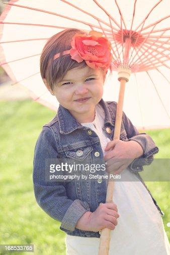 girl & parasol : Stock Photo