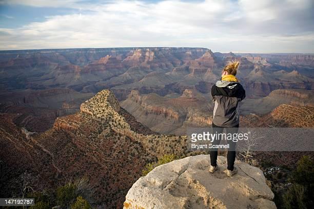 Girl photographing Grand Canyon