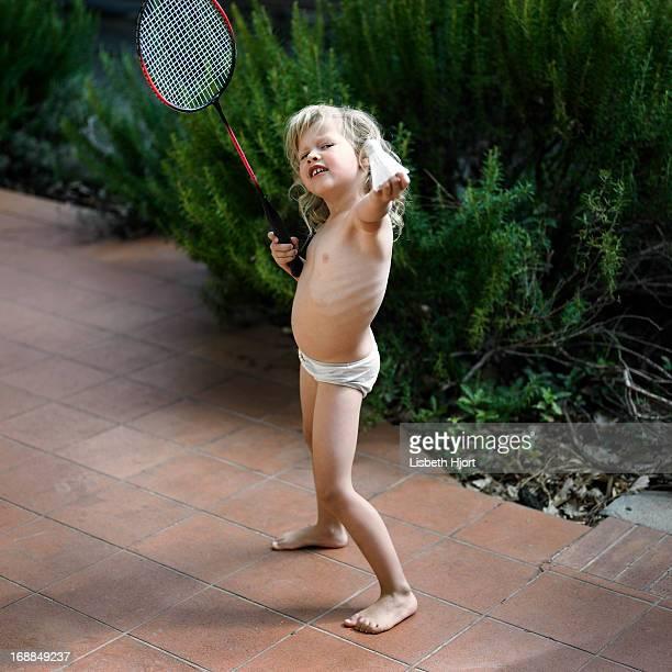 Girl playing badminton in underwear