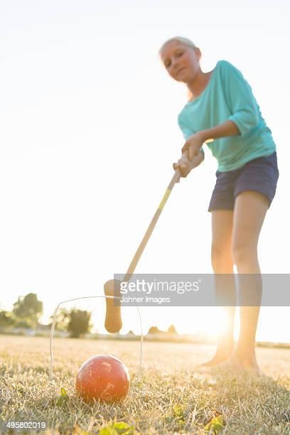 Girl playing croquet, Skanor, Skane, Sweden