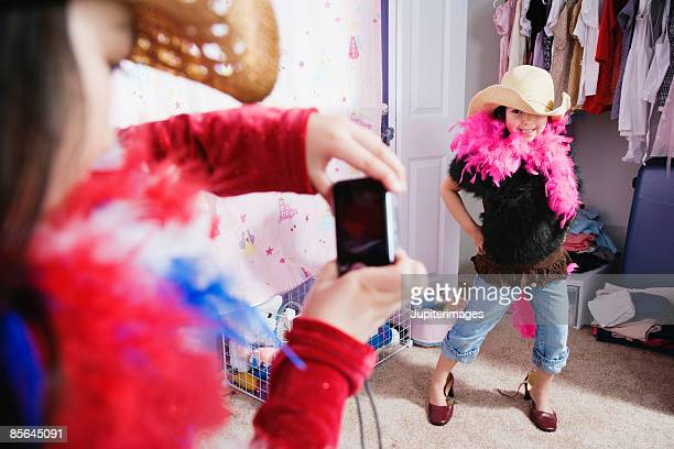Girl playing dress-up