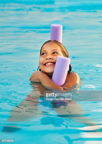 Girl playing in a pool