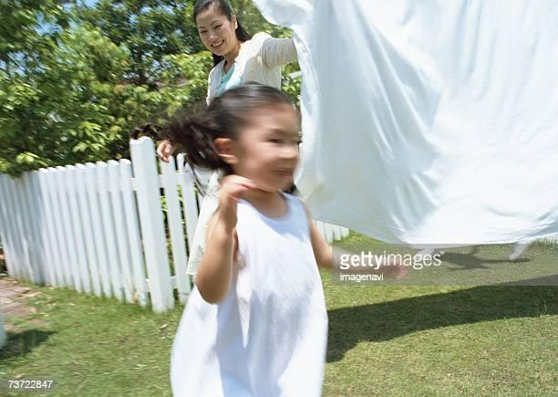Girl playing in yard