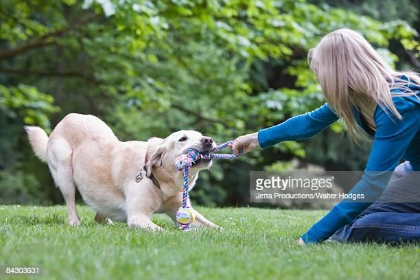 Girl playing tug-of-war with dog