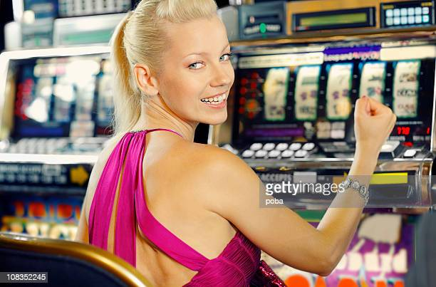 girl plays games in the casino