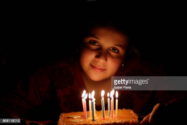 Girl portrait with her birthday cake