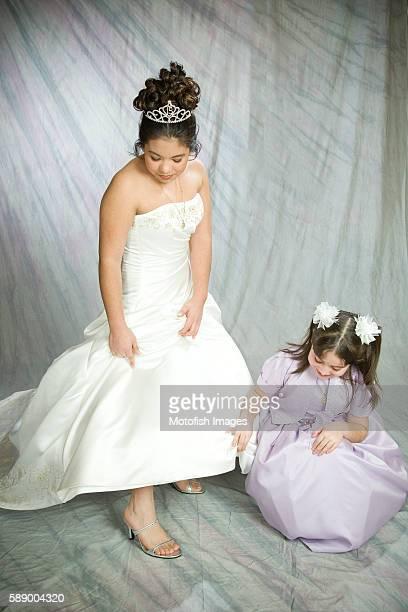 Girl Posing for Quinceanera Portrait