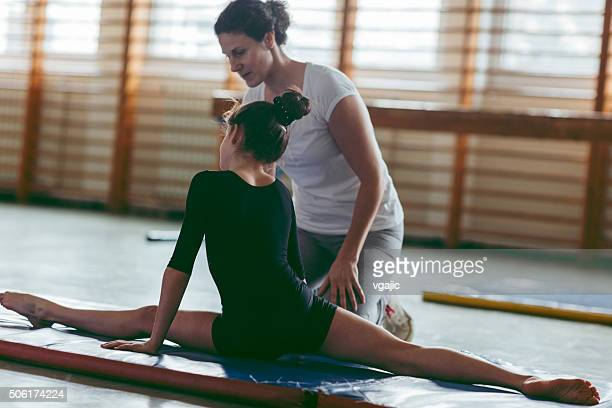 GIrl Practicing Gymnastics.
