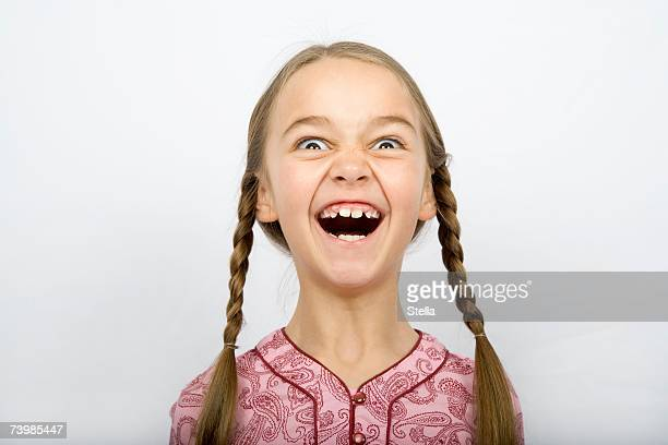 A girl pulling a funny face